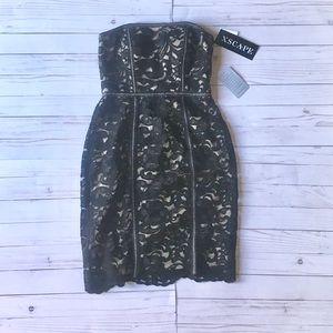 Stunning strapless black  lace mini dress